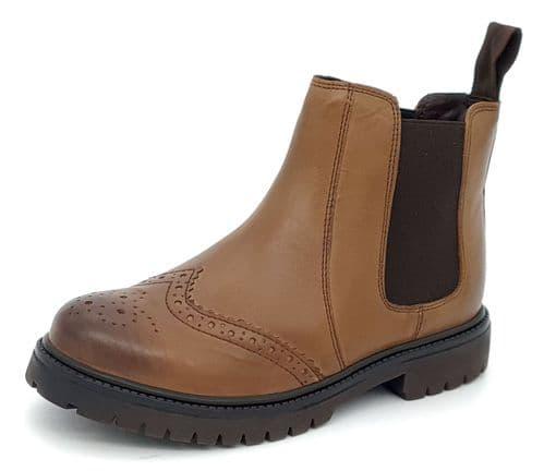 Frank James - Grantham Cognac Brogue Brown Junior Chelsea Boots